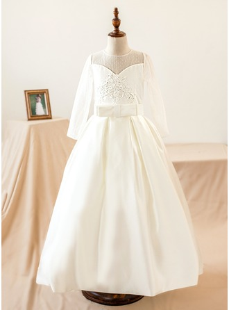 A-Line/Princess Floor-length Flower Girl Dress - Satin/Tulle Long Sleeves Scoop Neck With Appliques/Bow(s)