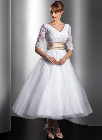 A-Line/Princess V-neck Tea-Length Tulle Charmeuse Wedding Dress With Sash Beading Appliques Lace