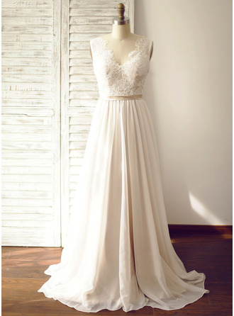 A-Line/Princess V-neck Court Train Wedding Dress