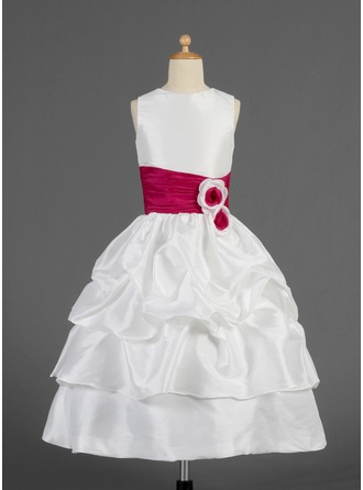 A-Line/Princess Scoop Neck Tea-Length Taffeta Flower Girl Dress With Ruffle Sash Flower(s)