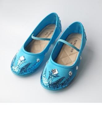 Fille de Glitter mousseux Low Heel Bout fermé Chaussures plates avec Bowknot Pearl