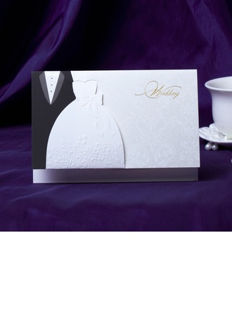 Bride & Groom Style Top Fold Invitation Cards
