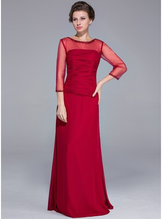 Sheath/Column Scoop Neck Floor-Length Chiffon Mother of the Bride Dress With Beading Sequins