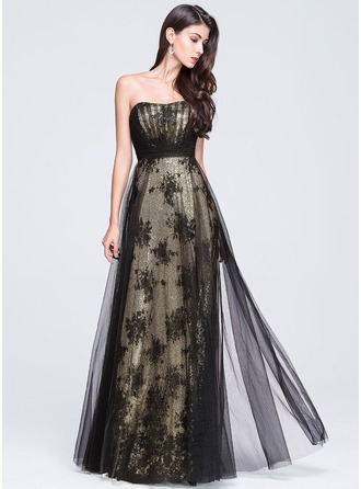 Empire Sweetheart Floor-Length Tulle Prom Dress With Ruffle
