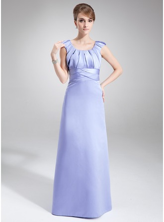 Sheath/Column Scoop Neck Floor-Length Satin Mother of the Bride Dress With Ruffle