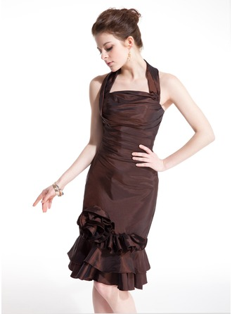 Sheath/Column Halter Knee-Length Taffeta Cocktail Dress With Flower(s) Cascading Ruffles