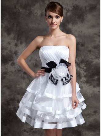 A-Line/Princess Sweetheart Knee-Length Organza Charmeuse Wedding Dress With Sash Feather Flower(s) Bow(s) Cascading Ruffles