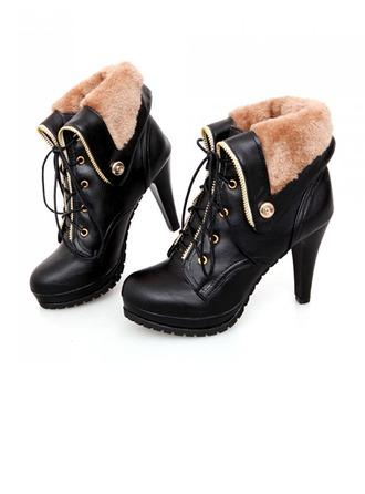 Femmes Similicuir Talon stiletto Escarpins Bout fermé Compensée Bottes Bottines avec Dentelle chaussures