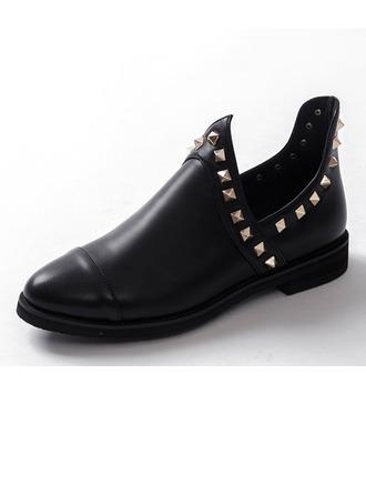 Femmes Similicuir Talon plat Chaussures plates Bout fermé avec Rivet chaussures