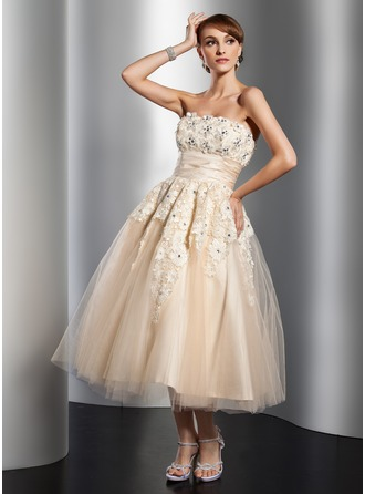 A-Line/Princess Strapless Tea-Length Satin Tulle Wedding Dress With Ruffle Lace Beading Flower(s)
