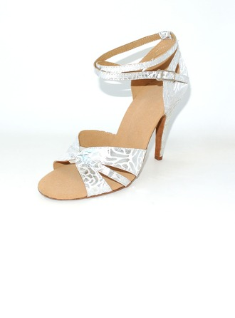 Women's Leatherette Heels Sandals Latin Wedding Party With Ankle Strap Dance Shoes