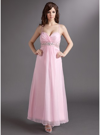 Empire Sweetheart Ankle-Length Chiffon Holiday Dress With Ruffle Beading