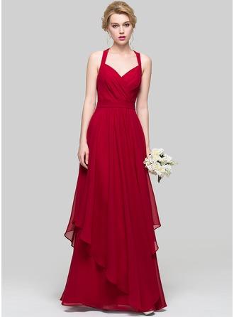 Трапеция/Принцесса возлюбленная Длина до пола шифон Платье Подружки Невесты с Ниспадающие оборки