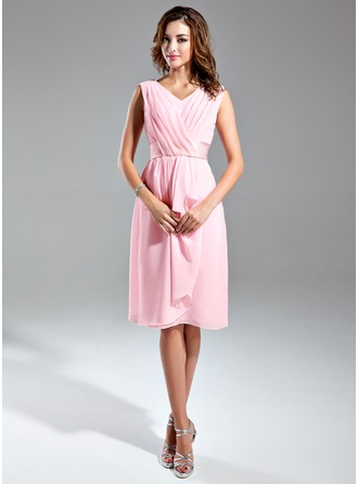 A-Line/Princess V-neck Knee-Length Chiffon Satin Bridesmaid Dress With Cascading Ruffles