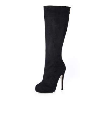 Suède Talon stiletto Escarpins Plateforme Bout fermé Bottes hautes chaussures
