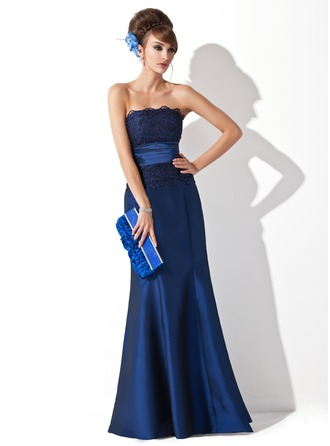 Trumpet/Mermaid Strapless Floor-Length Taffeta Evening Dress With Ruffle Lace