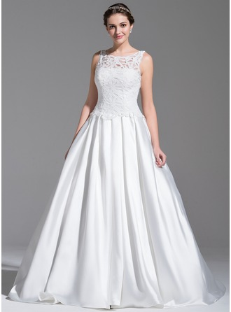 Ball-Gown Scoop Neck Sweep Train Satin Lace Wedding Dress