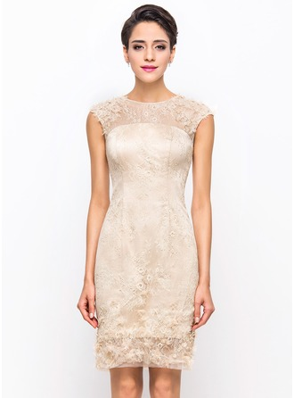 Sheath/Column Scoop Neck Knee-Length Tulle Charmeuse Lace Cocktail Dress With Beading Flower(s)