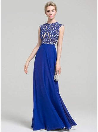 A-Line/Princess Scoop Neck Floor-Length Chiffon Evening Dress