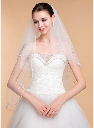Zweischichtig Perlenbesetzter Saum Ellenbogen Braut Schleier mit Strasssteine
