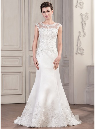 Trumpet/Mermaid Scoop Neck Chapel Train Satin Tulle Wedding Dress With Beading Appliques Lace Sequins