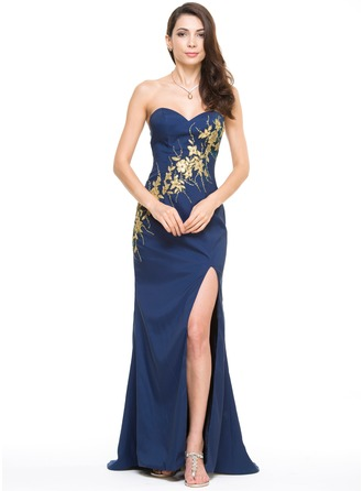 Trumpet/Mermaid Sweetheart Sweep Train Satin Evening Dress With Appliques Lace Split Front