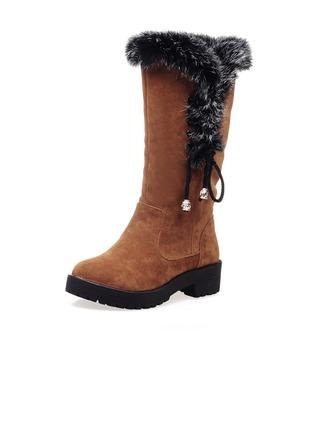 Femmes Suède Talon bottier Bottes mi-mollets Bottes neige avec Fourrure Lanière tressé chaussures