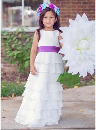 Princesa Chifón Vestido de la muchacha con Fajas/Cascada de volantes