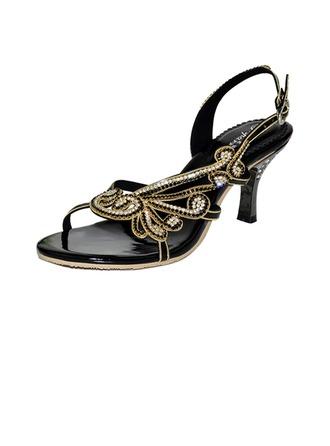 Women's Leatherette Low Heel Sandals Slingbacks With Rhinestone