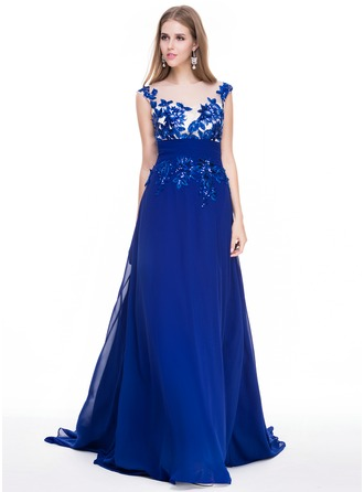 A-Line/Princess Scoop Neck Court Train Chiffon Tulle Prom Dress With Ruffle Appliques Lace Sequins
