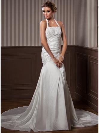 Trumpet/Mermaid Strapless Chapel Train Taffeta Wedding Dress With Ruffle Lace Beading