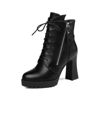 Femmes Similicuir Talon bottier Bottines avec Zip Lanière tressé chaussures