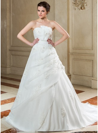 Ball-Gown Scalloped Neck Court Train Organza Wedding Dress With Ruffle Beading Appliques Lace Sequins Bow(s)