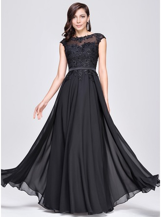 A-Line/Princess Scoop Neck Floor-Length Chiffon Charmeuse Evening Dress With Beading Appliques Lace Sequins