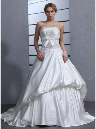 Ball-Gown Sweetheart Court Train Satin Wedding Dress With Ruffle Beading Appliques Lace Bow(s)