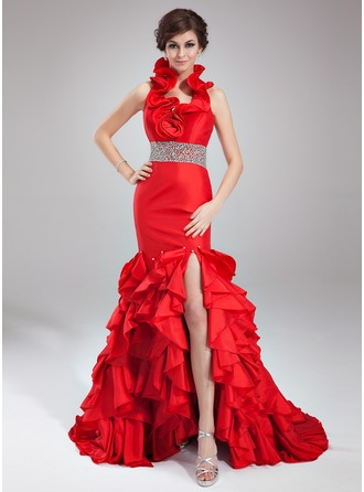 Trumpet/Mermaid Halter Court Train Taffeta Prom Dress With Beading Split Front Cascading Ruffles