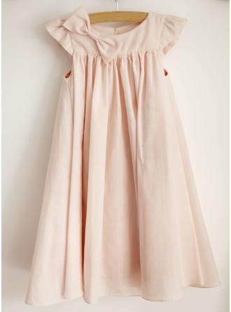 Robe Empire Longueur genou Robes à Fleurs pour Filles - Coton Sans manches Col rond avec À ruban(s)