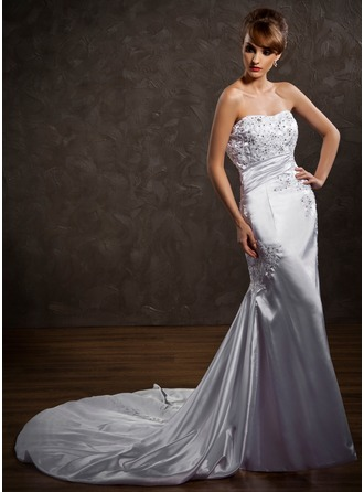 Trumpet/Mermaid Sweetheart Chapel Train Charmeuse Wedding Dress With Ruffle Lace Beading Sequins