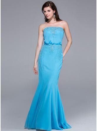 Trumpet/Mermaid Strapless Floor-Length Chiffon Evening Dress With Beading