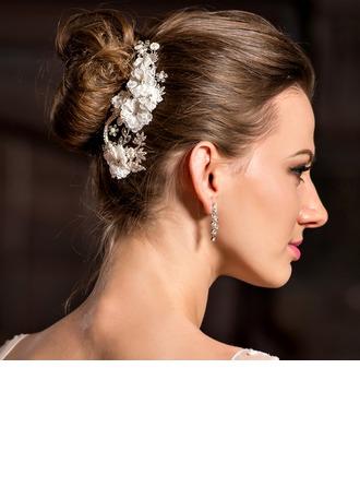 Magnifique/Fait main Strass/Alliage/Perles d'imitation/Dentelle Des peignes et barrettes/Fleurs et plumes