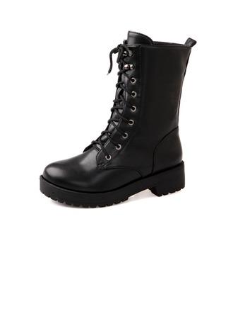Similicuir Talon bas Bottines Martin bottes avec Dentelle chaussures