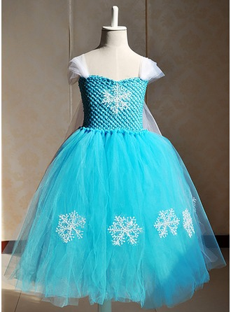 A-Line/Princess Sweetheart Tea-Length Tulle Flower Girl Dress With Appliques Lace