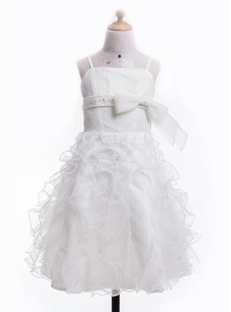 A-Line/Princess Tea-Length Chiffon Flower Girl Dress With Beading Bow(s)