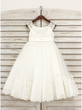 A-Line/Princess Tea-length Flower Girl Dress - Tulle Sleeveless Scoop Neck With Lace