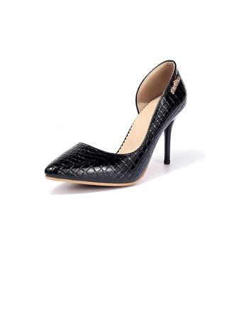 Femmes Cuir verni Talon stiletto Escarpins Bout fermé avec La copie Animale chaussures