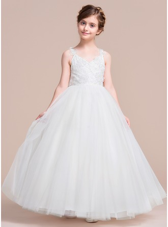 A-Line/Princess Tea-length Flower Girl Dress - Tulle Sleeveless V-neck With Flower(s)/Bow(s)