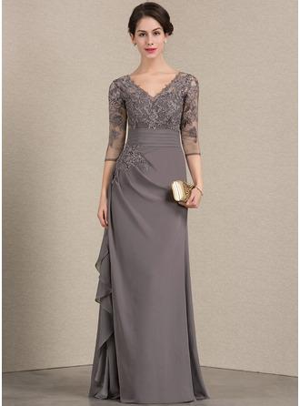 A-لاين أميرة V عنق الطول الأرضي الشيفون ربط الحذاء فستان أم العروس مع الكشكشة المتتالية
