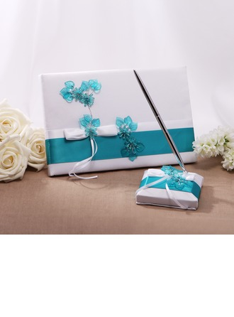 Flowers Design Bow Guestbook & Pen Set