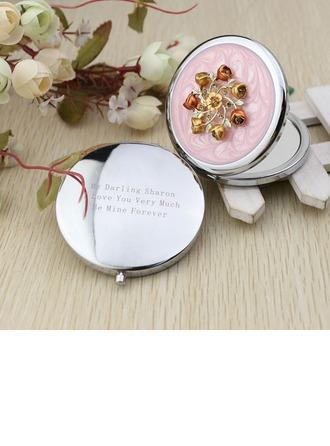 personnalisé Design de fleur Chromé Mirroir compact avec Strass diamant