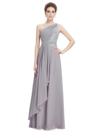 Polyester/Satin/Silk Blend mit Rüsche/Applikationen Maxi Kleid